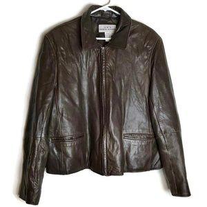 Eddie Bauer Genuine Leather Zip Up Jacket